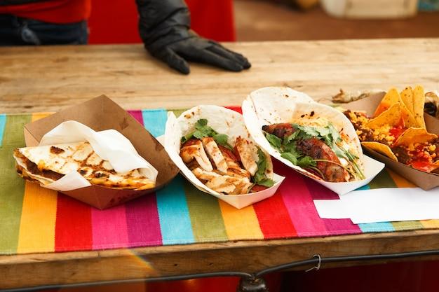 Set van mexicaans fastfood