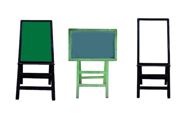 Set van platte ontwerp schoolbord achtergrond en houten frame