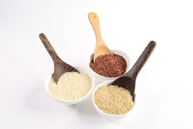 Set van rijst collectie op hout.