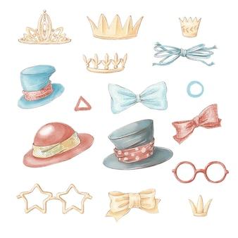 Set van schattige cartoon hoeden en glazen. aquarel illustratie.