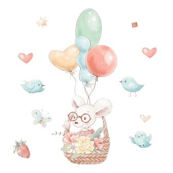 Set van schattige cartoon muis in een mand met bloemen en ballonnen.