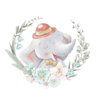 Set van schattige cartoon olifant in een hete luchtballon. aquarel illustratie.