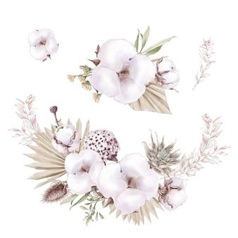 Set van schattige katoenen bloemen takken en bladeren. aquarel illustratie.