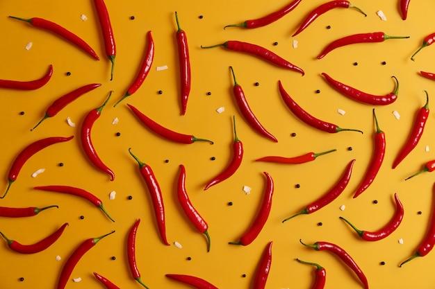 Set van smakelijke hete rode chilipeper rijk aan verschillende vitamines en mineralen, in kleine hoeveelheden gegeten, heeft een brandende smaak toegevoegd als smaakmaker. gezond kruid. groenten die worden gebruikt om af te vallen, omdat ze de eetlust verminderen