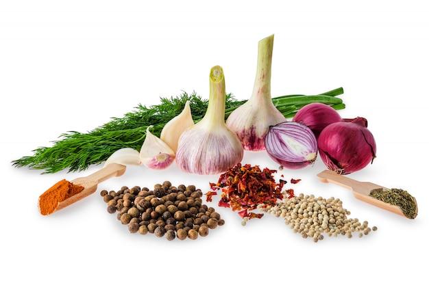 Set van specerijen en kruiden voor dagelijks koken op wit wordt geïsoleerd