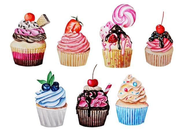 Set van taarten, cupcakes en snoep.
