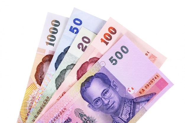 Set van thaise baht-valutarekeningen volledig geïsoleerd tegen wit