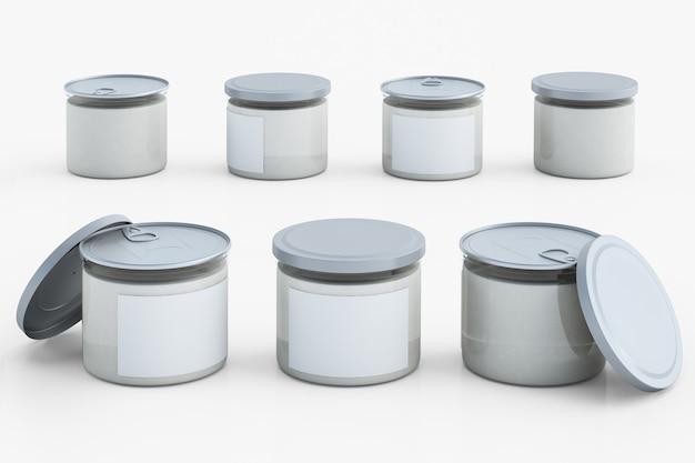 Set van transparant plastic pakket met metalen dop.