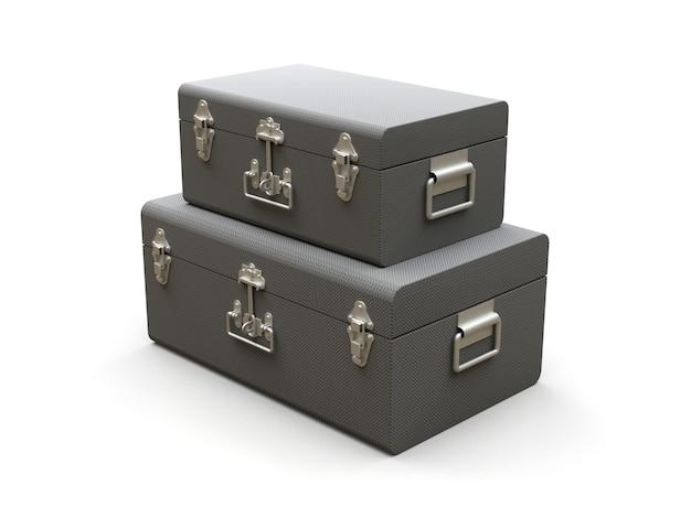 Set van twee grijze lederen koffers met prachtige gespen