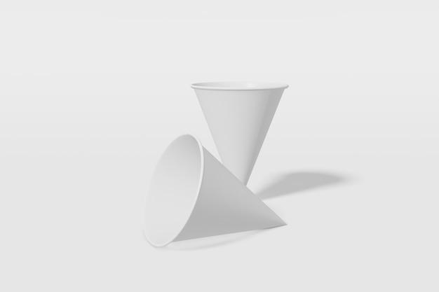 Set van twee witte papieren bekers kegelvormig op een witte achtergrond