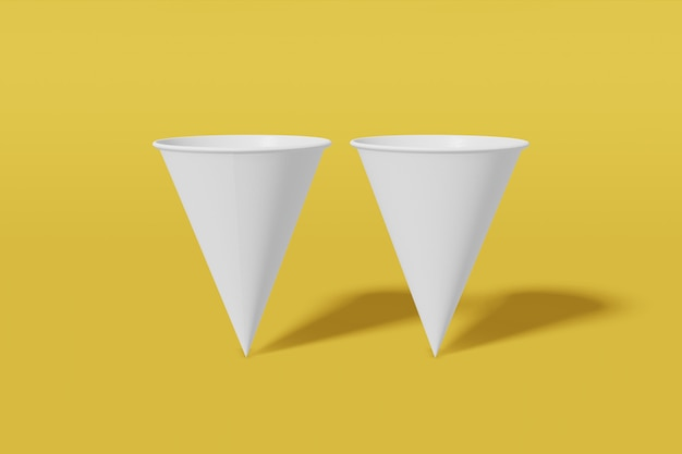 Set van twee witte papieren mockup cups kegelvormig op een gele achtergrond. 3d-weergave