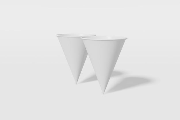 Set van twee witte papieren mockup cups kegelvormig op een witte achtergrond. 3d-weergave