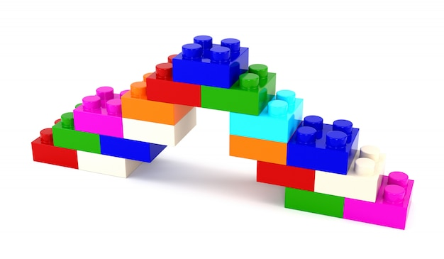Set van veelkleurige kunststof onderdelen ontwerper geïsoleerd op een witte achtergrond. 3d illustratie.
