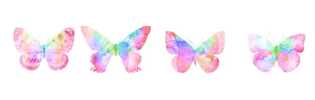 Set van veelkleurige vlinders geïsoleerd op een witte achtergrond. vier aquarel motten. hoge kwaliteit foto