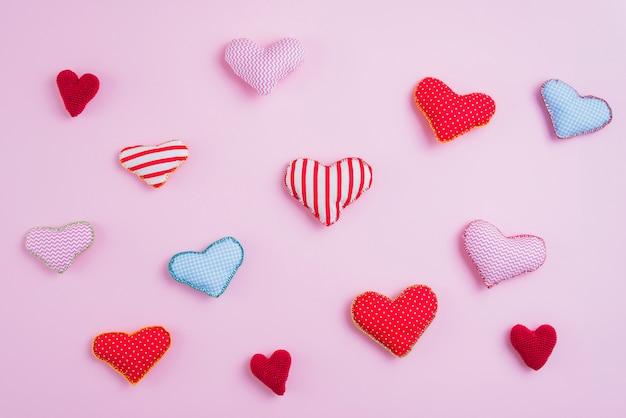 Set van verschillende handgemaakte harten