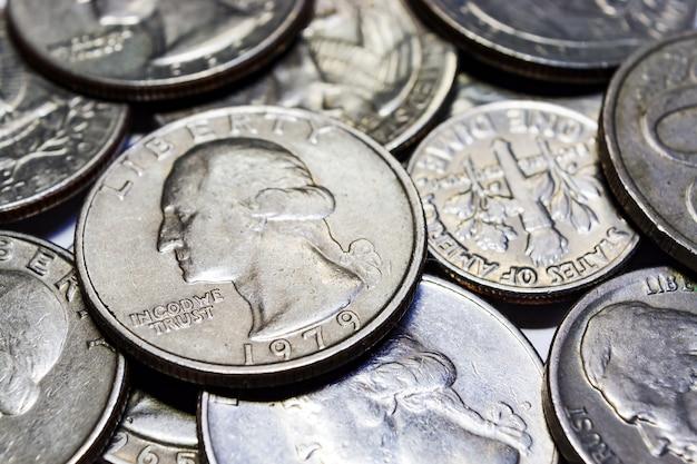 Set van verschillende munten close-up