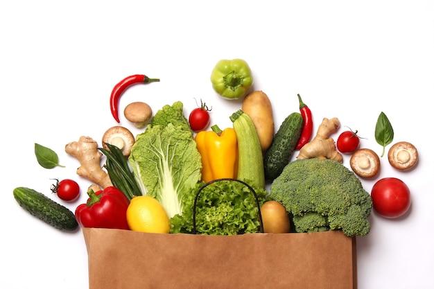 Set van verschillende verse groenten close-up gezond eten