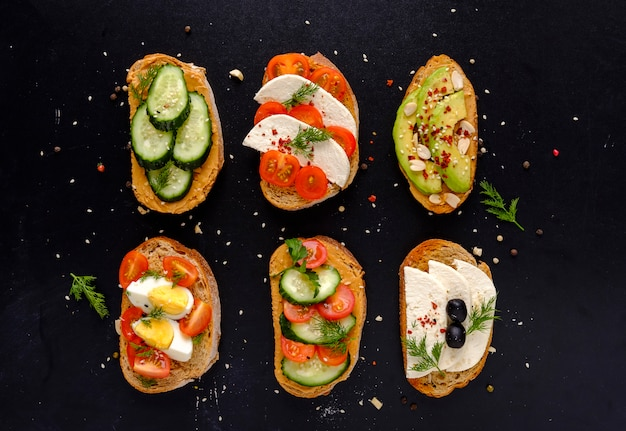 Set van verse broodjes snacks