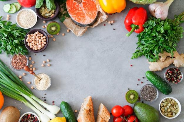 Set van verse gezonde producten
