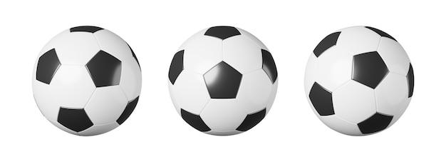 Set van voetbal of voetbal met verschillende kijk op wit geïsoleerd