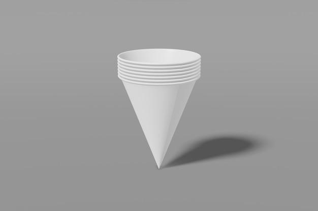 Set van wit papier mockup cups kegelvormig genest in elkaar op een grijze achtergrond. 3d-weergave