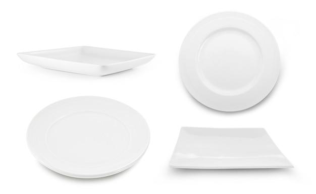 Set van witte plaat op wit oppervlak