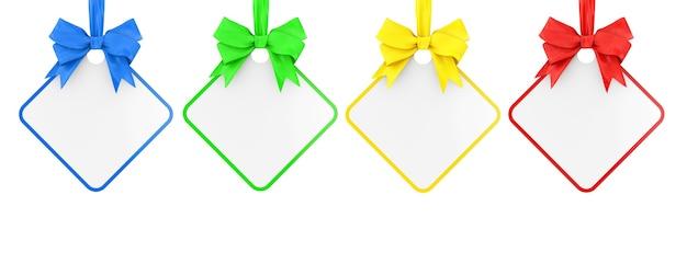 Set veelkleurige lege rechthoekige verkoop tag met lint en boog op een witte achtergrond. 3d-rendering