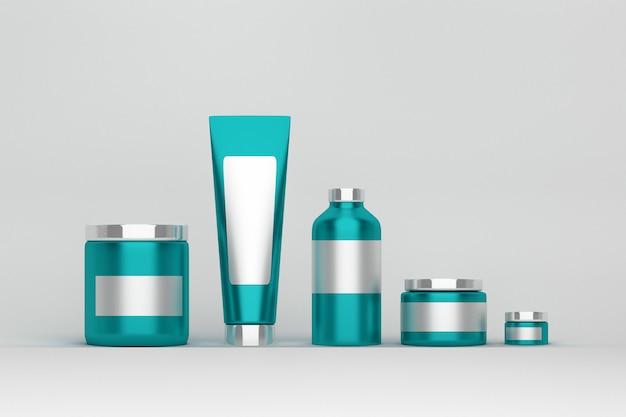 Set verpakkingen voor huidverzorgingsproducten. lichtblauwe plastic glanzende cosmetica containers