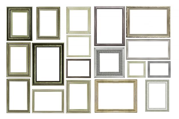 Set vintage zilveren en houten fotolijst