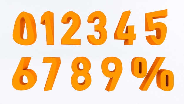 Set volumetrische 3d-getallen en procentteken. 3d-weergave