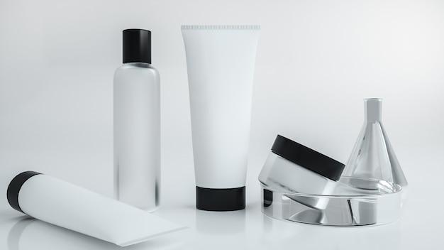 Set witte cosmetische crèmeflessen voor productvertoning. 3d-weergave