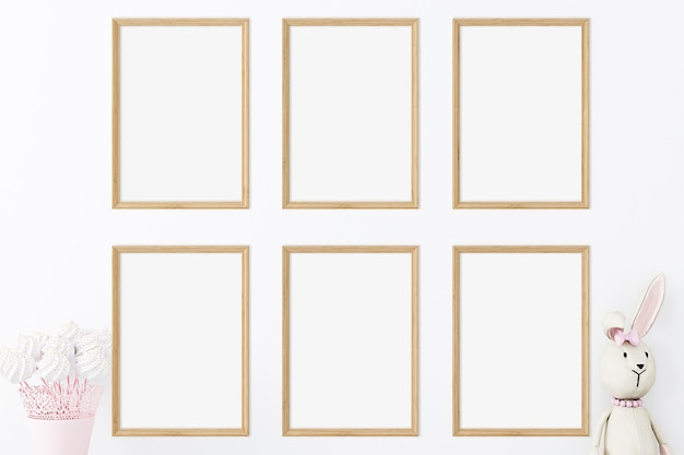 Set zes houten frame mockup