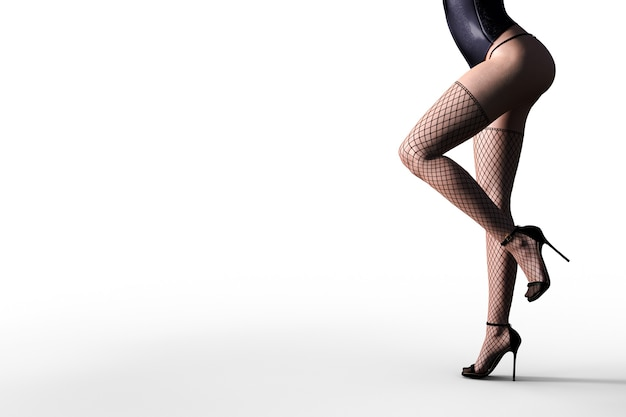 Sexy 3d-model in zwarte kanten lingerie en kousen. 3d illustrator.
