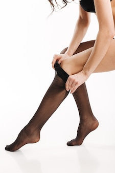 Sexy dame in elegante zwarte lingerie
