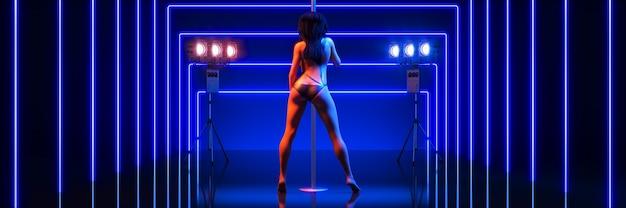 Sexy vrouwen paaldanseres 3d-rendering