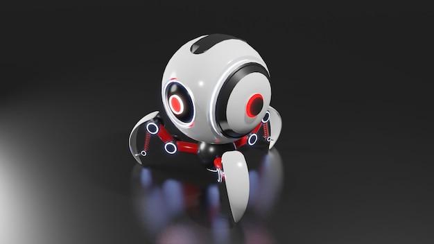 Sferische robot 3d-modellering voorzien van kunstmatige intelligentie