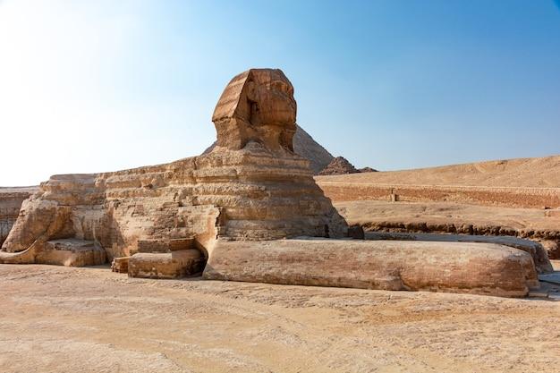 Sfinx in de giza-vallei op een zonnige dag