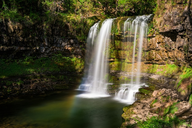 Sgwd yr eira waterfall, pontneddfechan, neath, wales, verenigd koninkrijk