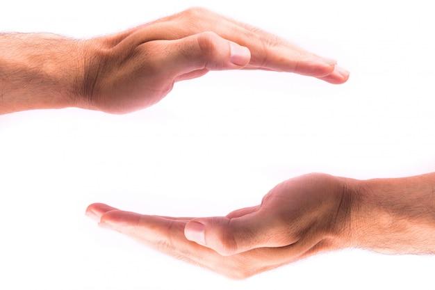Sheilding handen geïsoleerd