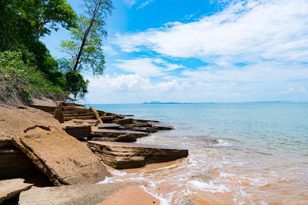 Shell fossils beach was tijdens het zomerseizoen uitgehold van de zeegolven, de zee.