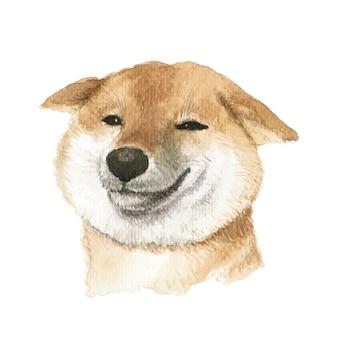 Shiba inu hond aquarel illustratie