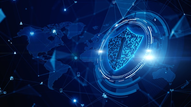 Shield icon cyber security, digital data network protection, future technology digital data network connection