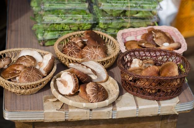 Shiitake schiet in lokale markt, japan als paddestoelen uit de grond