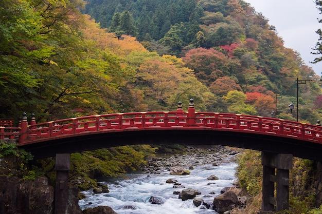 Shinkyo brug over rivier stroom in herfst bos in nikko, japan.