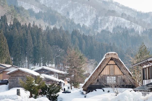 Shirakawago, historisch winterdorp in japan.