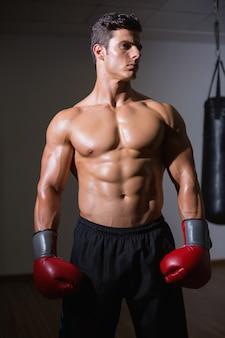 Shirtless spierbokser in gezondheidsclub