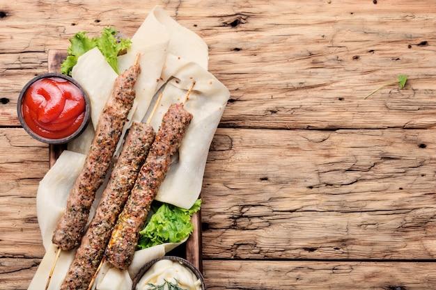 Shish kebab op een stok
