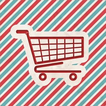 Shopping concept op rode en blauwe gestreepte achtergrond. vintage concept in plat ontwerp.