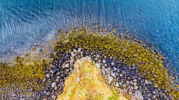 Shot van de mariene kust in de stad reykjavik met zwarte stenen bedekt met mos en groen en geel gras