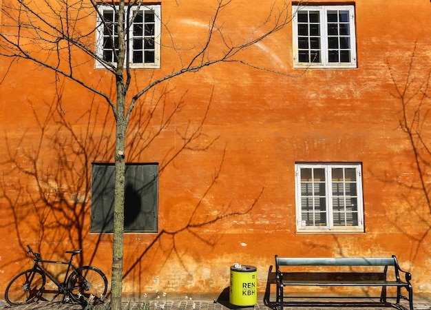 Shot van fiets, bank, bak en een naakte boom naast een bakstenen gebouw